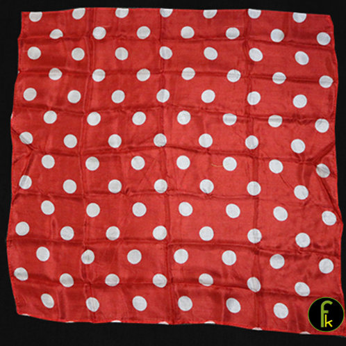 Polka Dot Hanky, White on Red (21 inches x 21 inches)