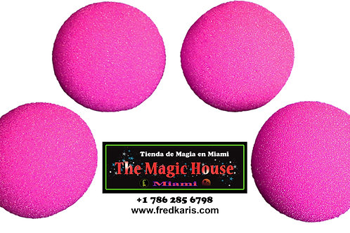 Juego de 4 bolas de esponja rosa ultra suave HD de 1.5 pulgadas de Magic by Gosh