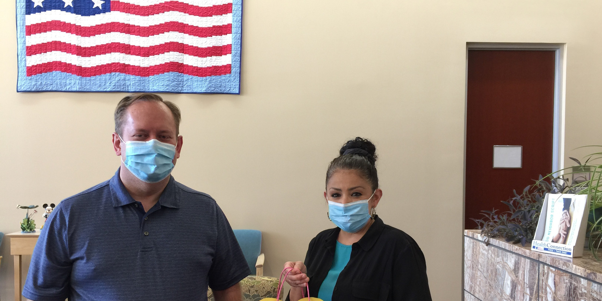 Stephen Stoddard, Executive Director of NMRHN delivering homemade mask donations to Guadalupe County Hospital on June 30, 2020.