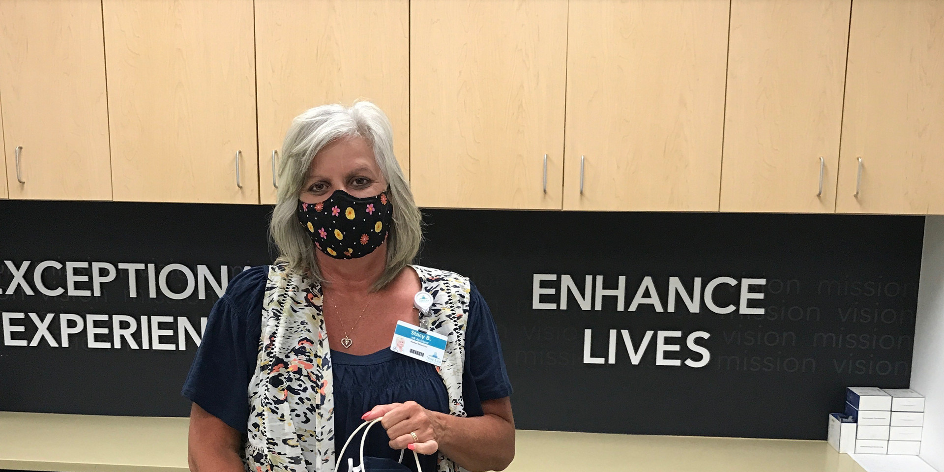 Homemade mask donations being delivered to Nor-Lea General Hospital on June 30, 2020.