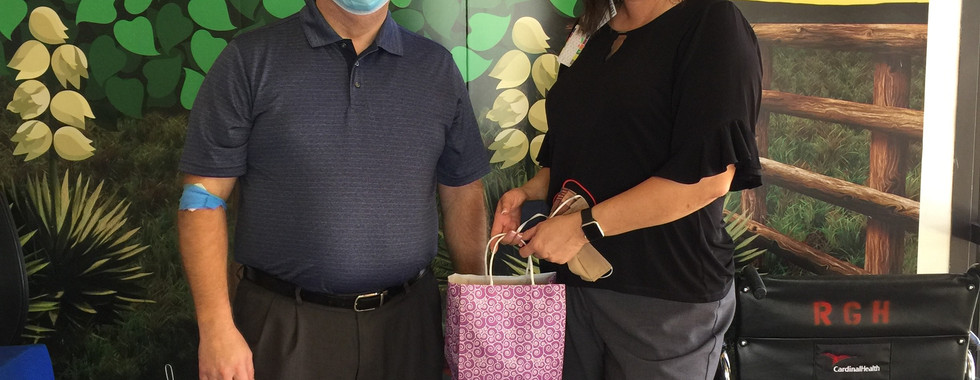 Stephen Stoddard, Executive Director of NMRHN delivering homemade mask donations to Roosevelt General Hospital on June 30, 2020.