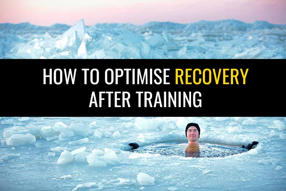 "Man sitting in a pool of icy water in the middle of an ice lake with a big smile on his face and the caption ""How to optimise recovery after training"""