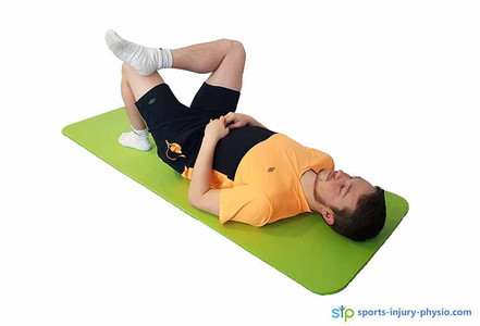 Stretches for plantar fasciitis: Starting position for the glute stretch.