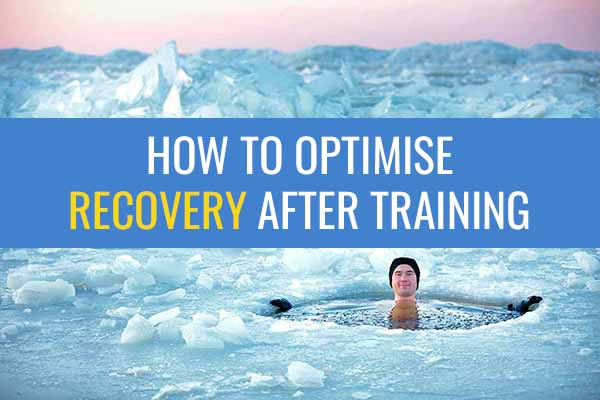 """Man sitting in a pool of icy water in the middle of an ice lake with a big smile on his face and the caption """"How to optimise recovery after training"""""""