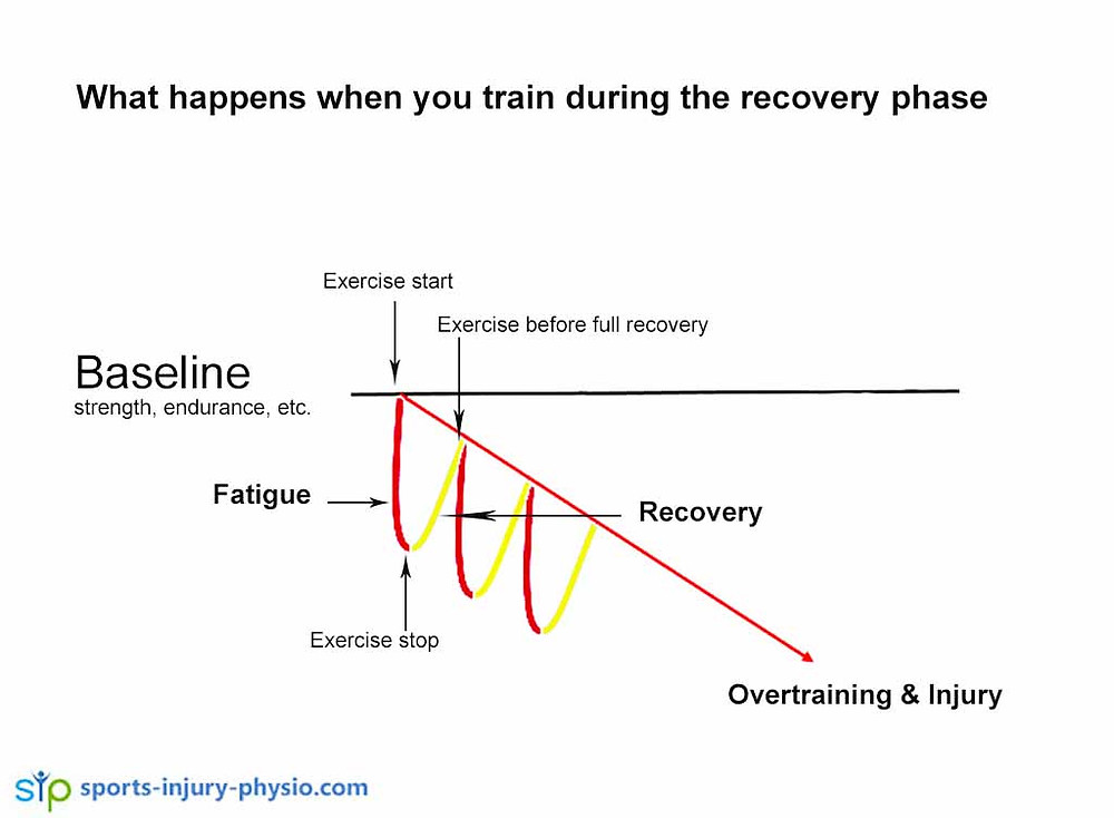 If you don't allow your body enough time to recover from the exercise induced damage it breaks down further over time, causing injury.