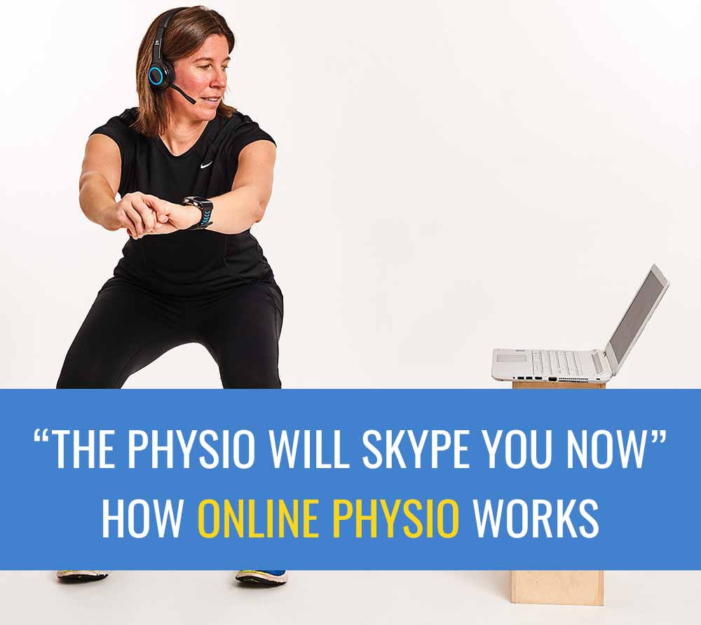 Maryke wearing headphones and busy doing an online physio consultation using her laptop.