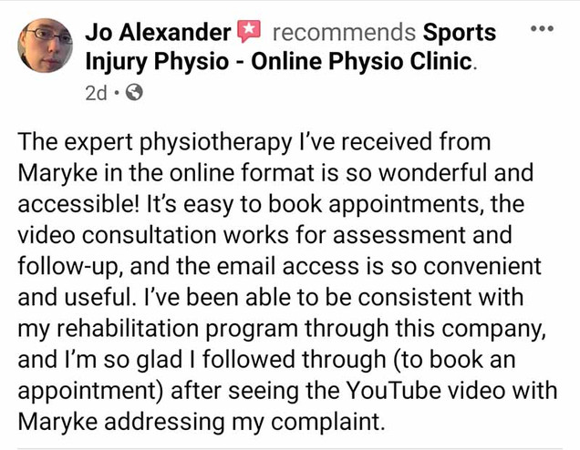 Online Physio Review: Jo Alexander