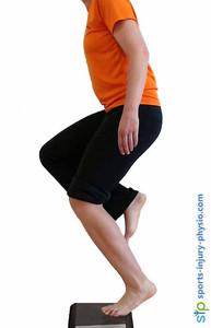 Bent knee heel raise to strengthen the soleus calf muscle.