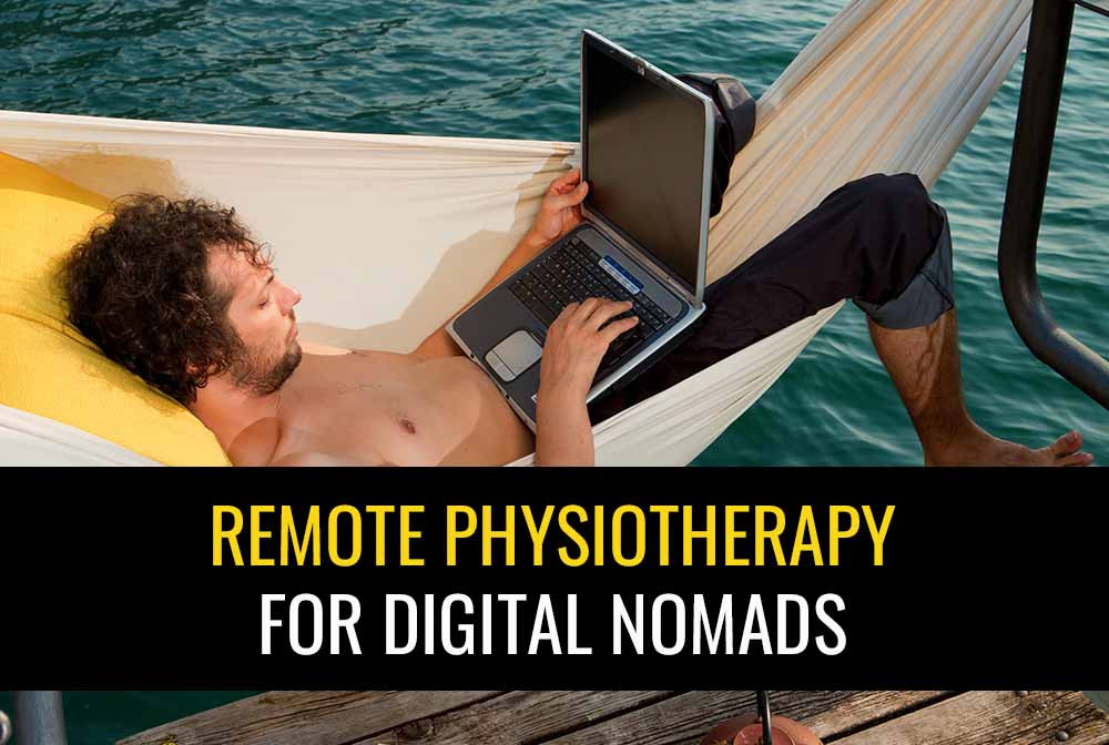 Picture of a digital nomad in a hammock using a laptop to consult with a remote physiotherapist.