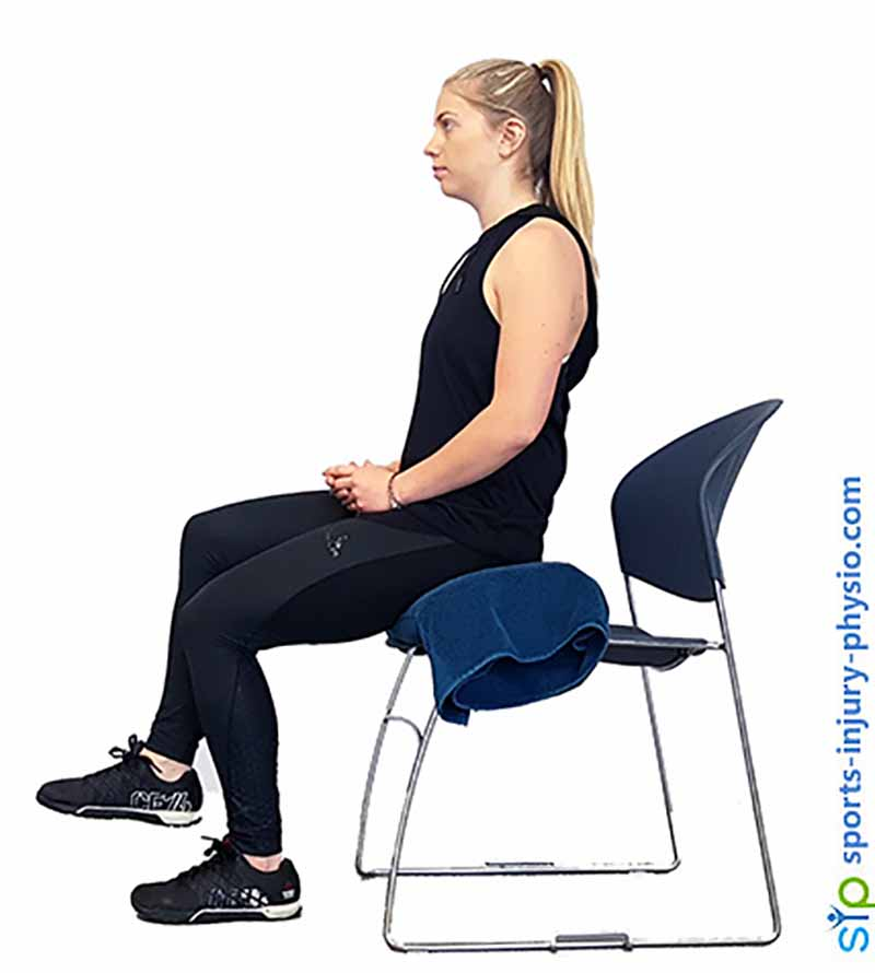 Starting position for the sit to stand exercise.