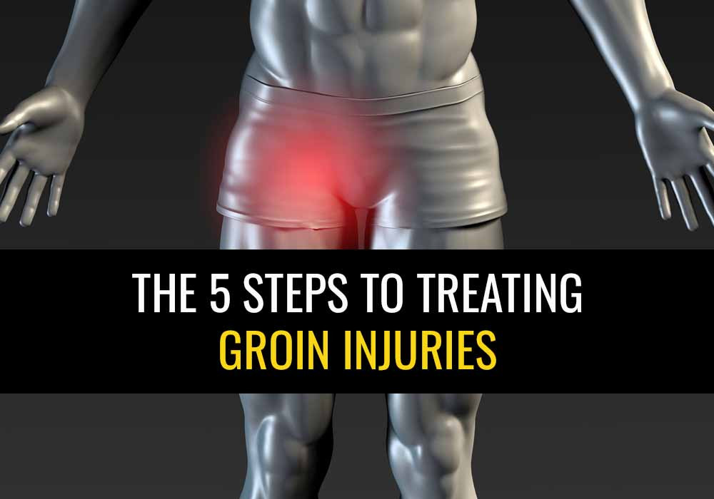 """Picture of man with pain in his groin and text saying """" The 5 steps to treating groin injuries"""""""