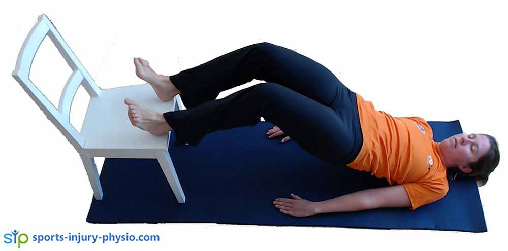 Bridge with leg lifts exercise. Lift up on 2 legs.