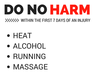 Avoid heat, alcohol, running and massage in the first 7 days of an injury.