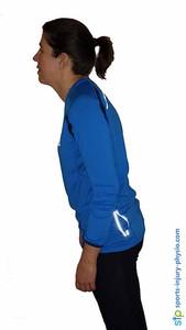 Poor neck posture in running.