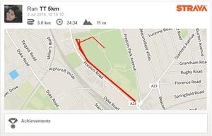Strava map showing my 5km PB on 3 July 2016