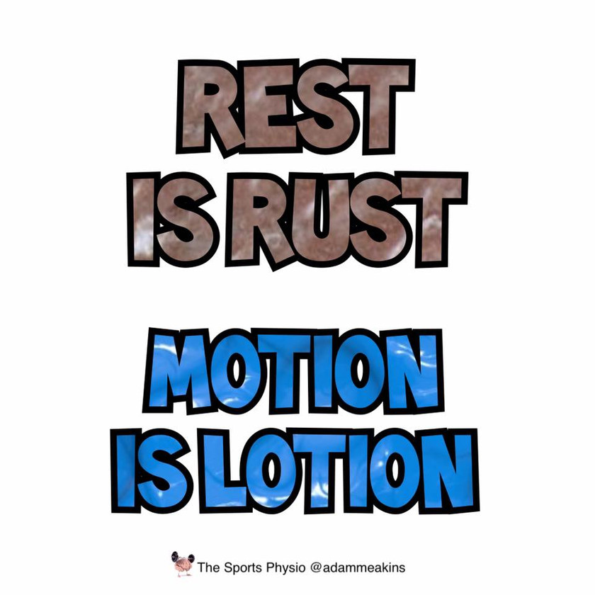 Rest is rust. Motion is lotion. Images taken from the facebook page of Adam Meakins - The Sports Physio