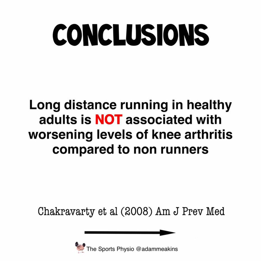 Long distance running does not cause osteoarthritis to get worse.