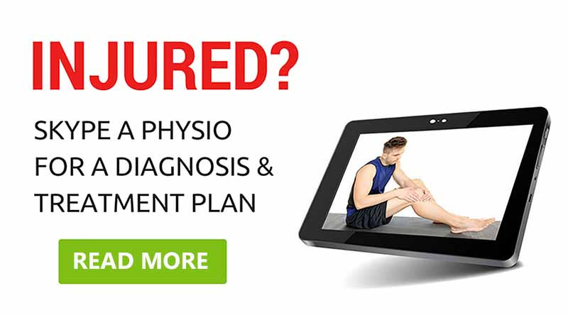 Tablet with an image of a man pointing to his injured knee. Follow this link to read more about how online physio consultations work.