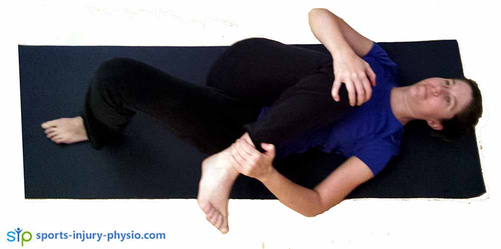 The adapted piriformis stretch works really well for lower back pain.
