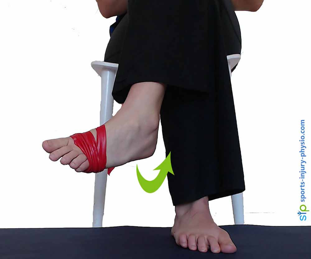 Tie an exercise band to your foot and start with the foot turned in.