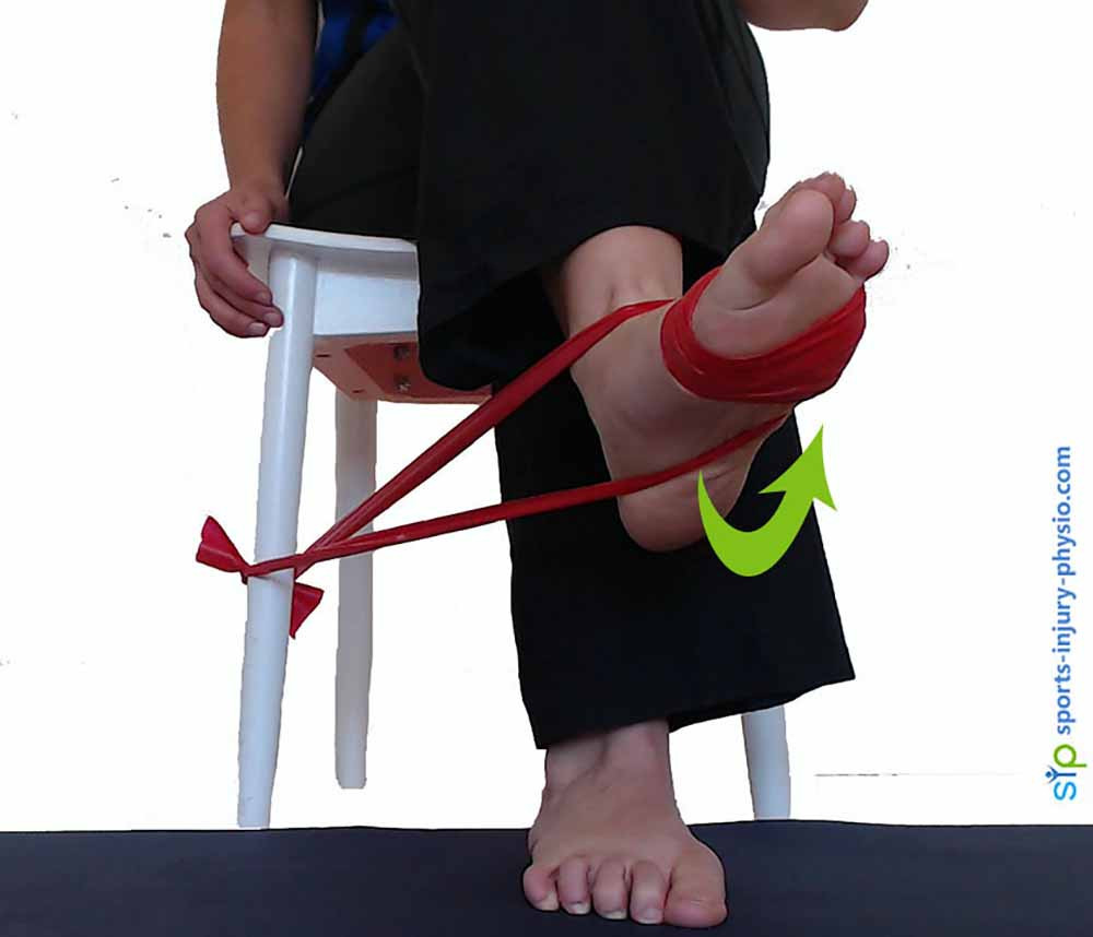 Turn your foot out against the resistance of the band. This strengthens the peroneal muscles of the ankle.