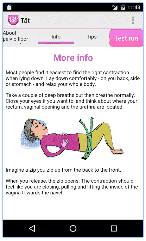 The app explains the exercises and helps you to do them right.