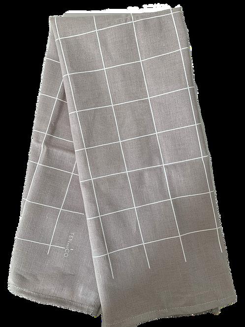 Grid White on Grey Tea Towel