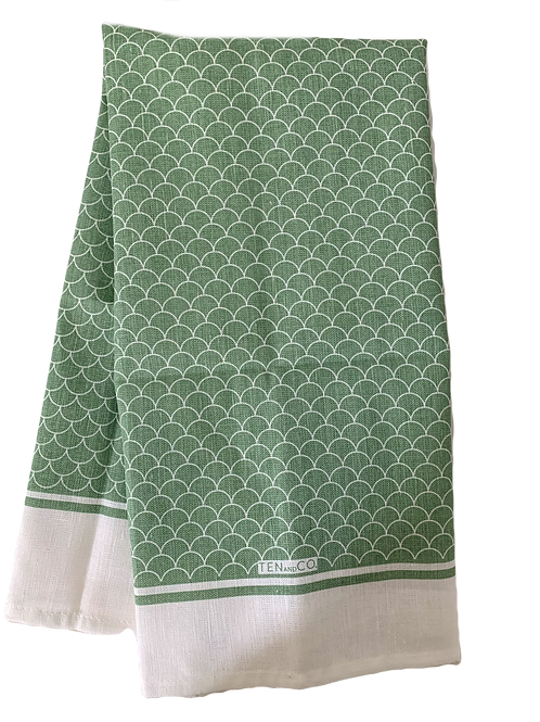 Scallop Sage Tea Towel