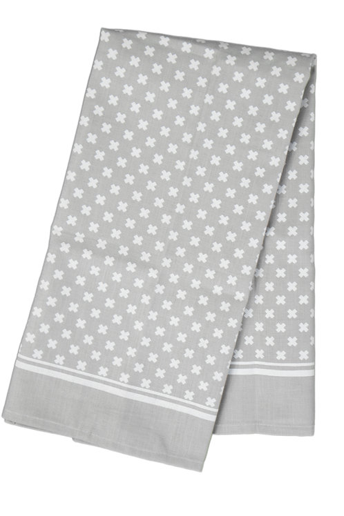 Tea Towel Tiny X, White on Warm Gray