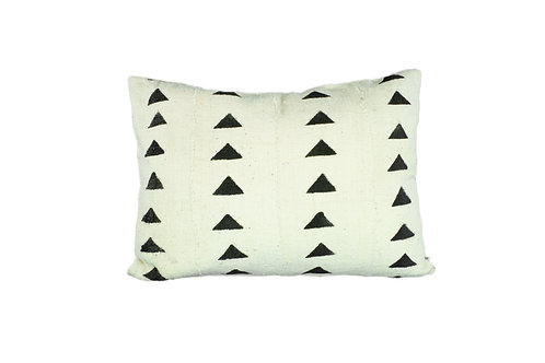 Lined, Mud Cloth Pillow Cover - Black Triangles