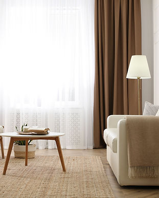 Modern furniture and window with curtain