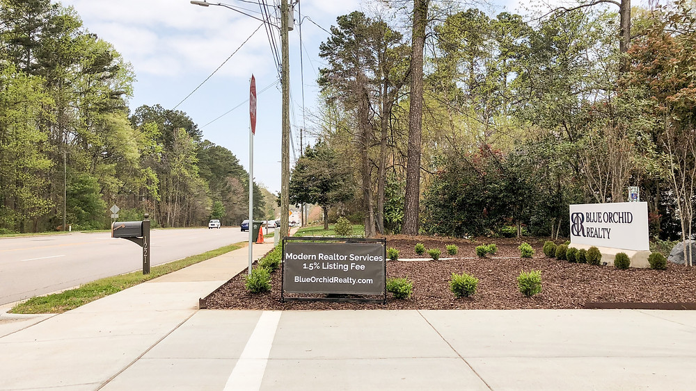 Blue Orchid Realty low listing Realtor fee banner. Office in Cary North Carolina
