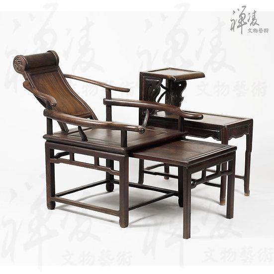 大紅酸枝 伸縮躺椅 (兩件組)