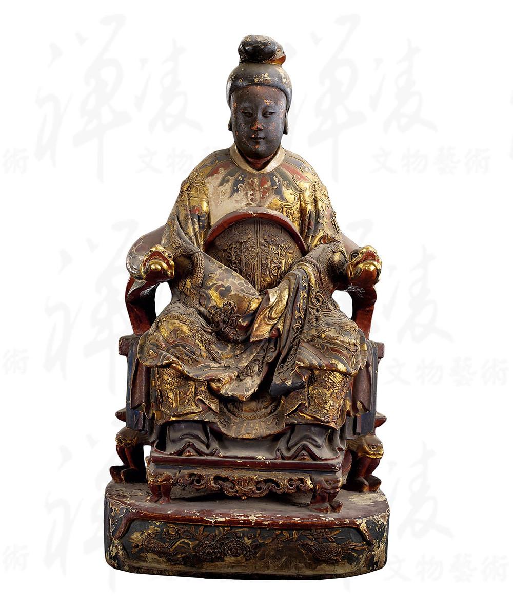 清 木雕加彩媽祖坐像 - 禪凌文物藝術 藏