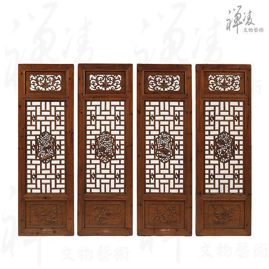 四季花鳥 窗槅 (4件) 浙江東陽工藝