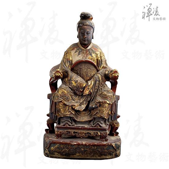 清 木雕加彩媽祖坐像