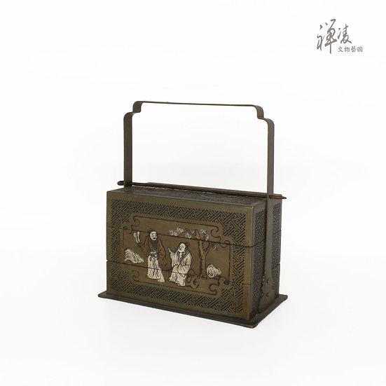 銅崁銀珠寶盒 |人物提盒