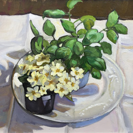 Still Life with Primroses and Basil