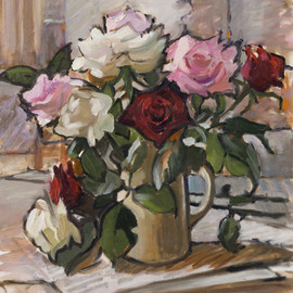 Still Life with Pink, White and Red Rose