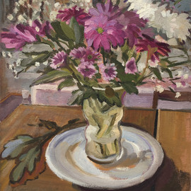 Chrysanthemums, Lilac and White