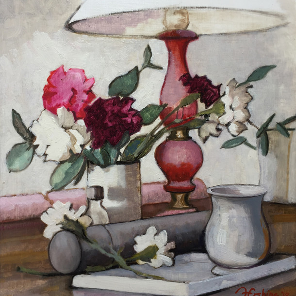 Still Life with Roses and Red Lamp