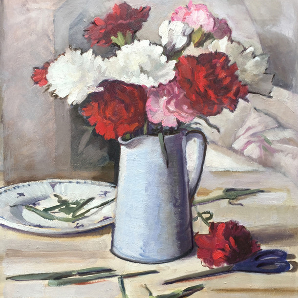 Carnations with Blue Jug