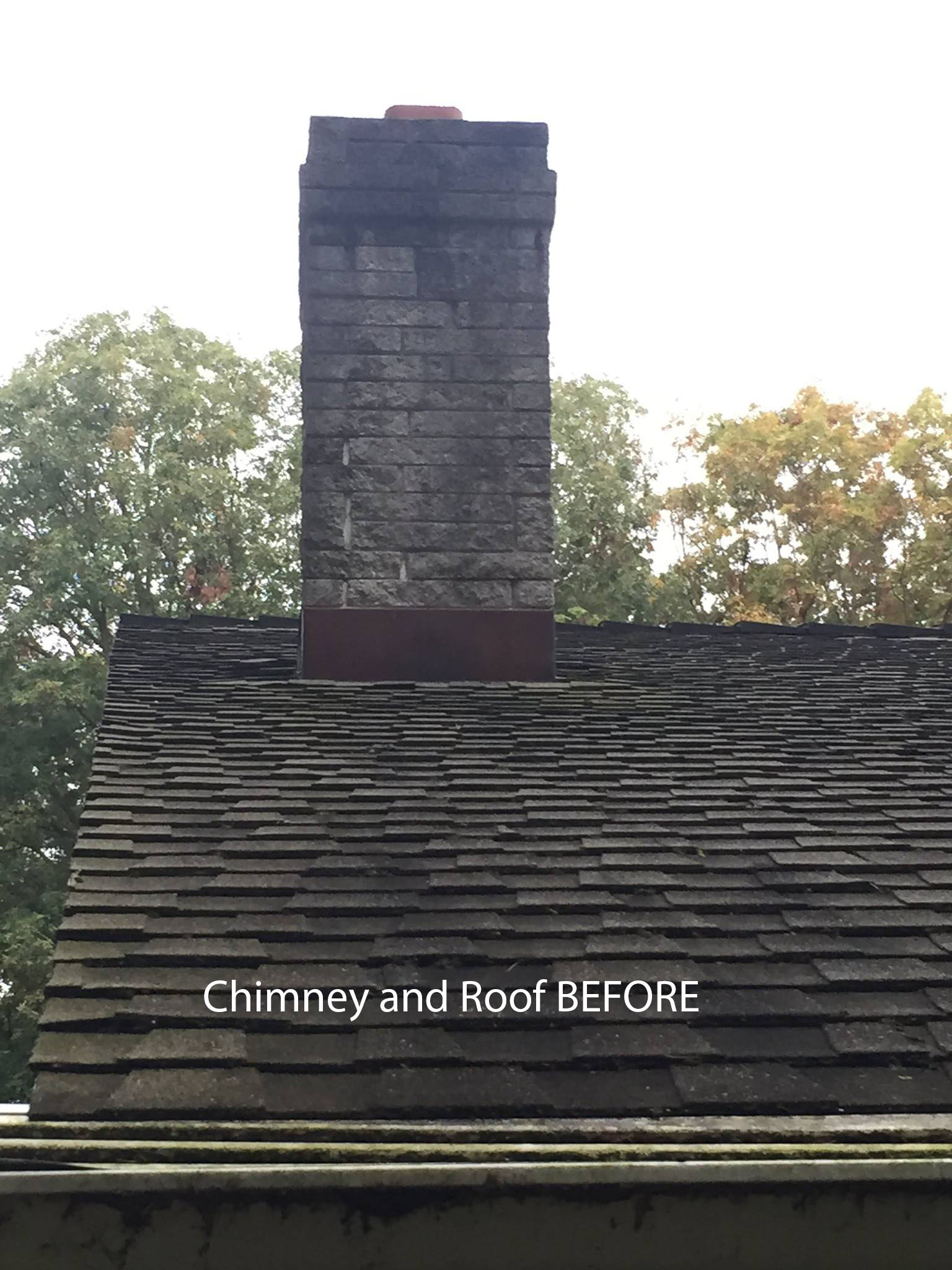 Chimney and roof before