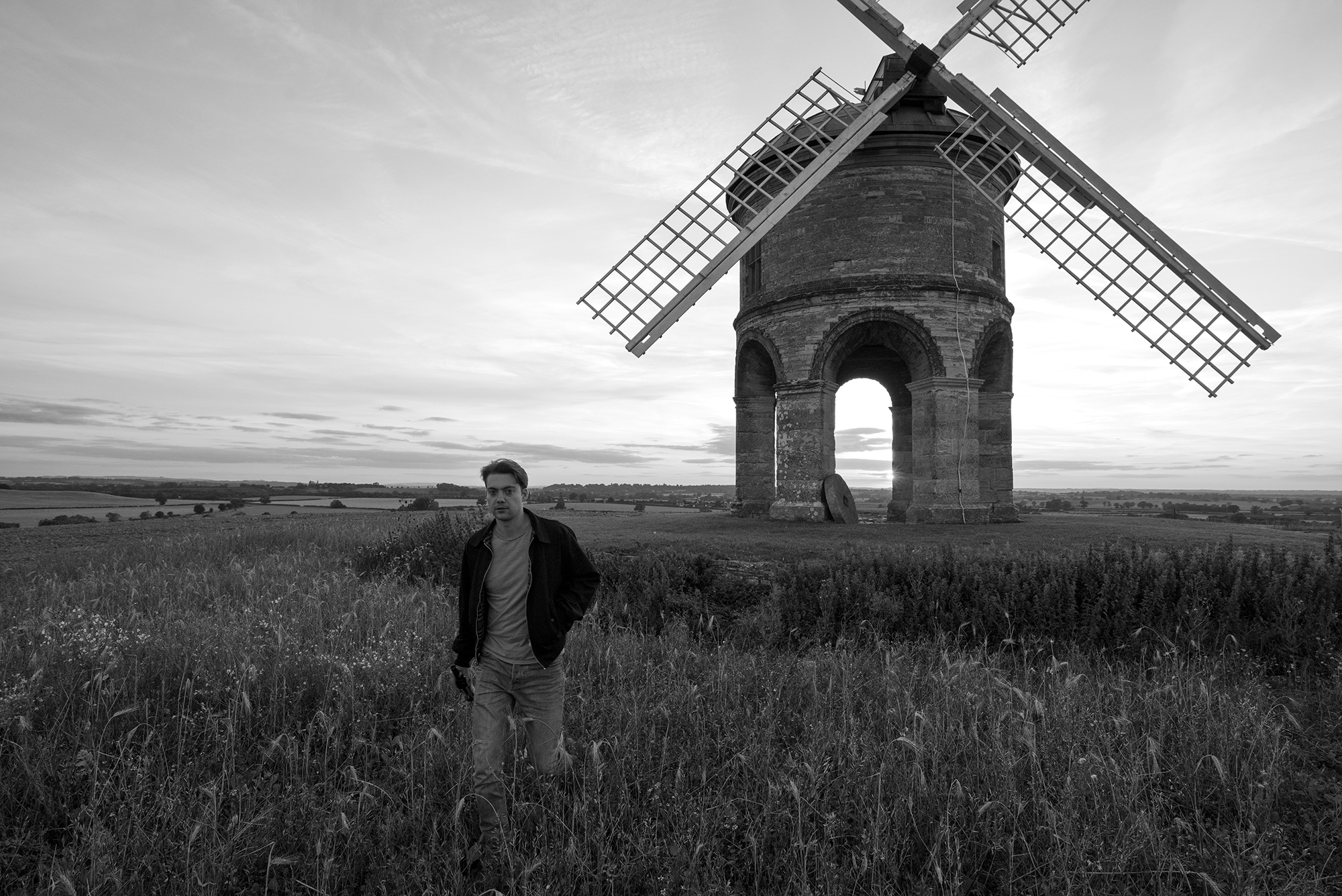 charlie and windmill black and white