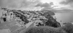 other side of oia pano b&w