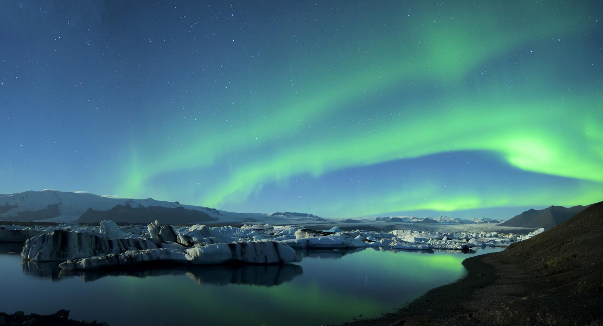 Jokulsarlon Lagoon Northern Lights