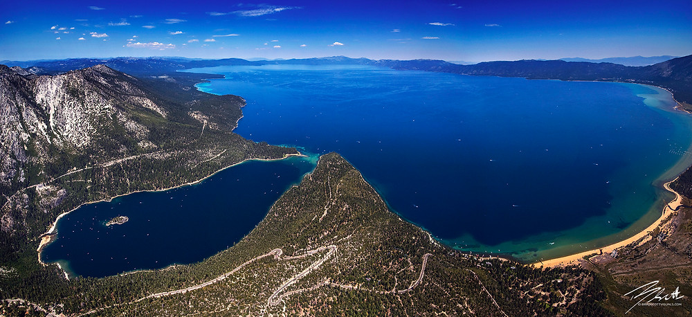 Above Tahoe - Aerial picture of Emerald Bay and Lake Tahoe
