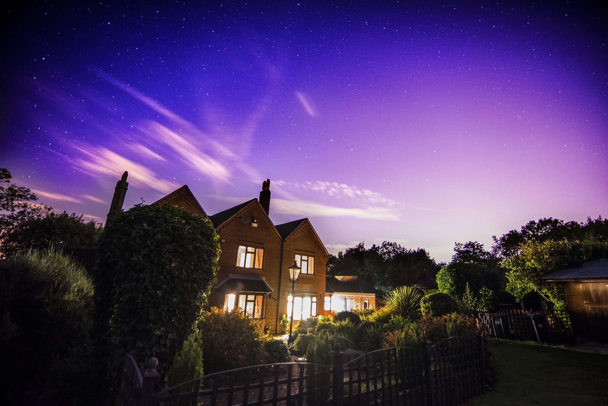 night shot of jones house
