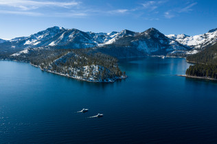 both boats entering emerald bay Aerial 2