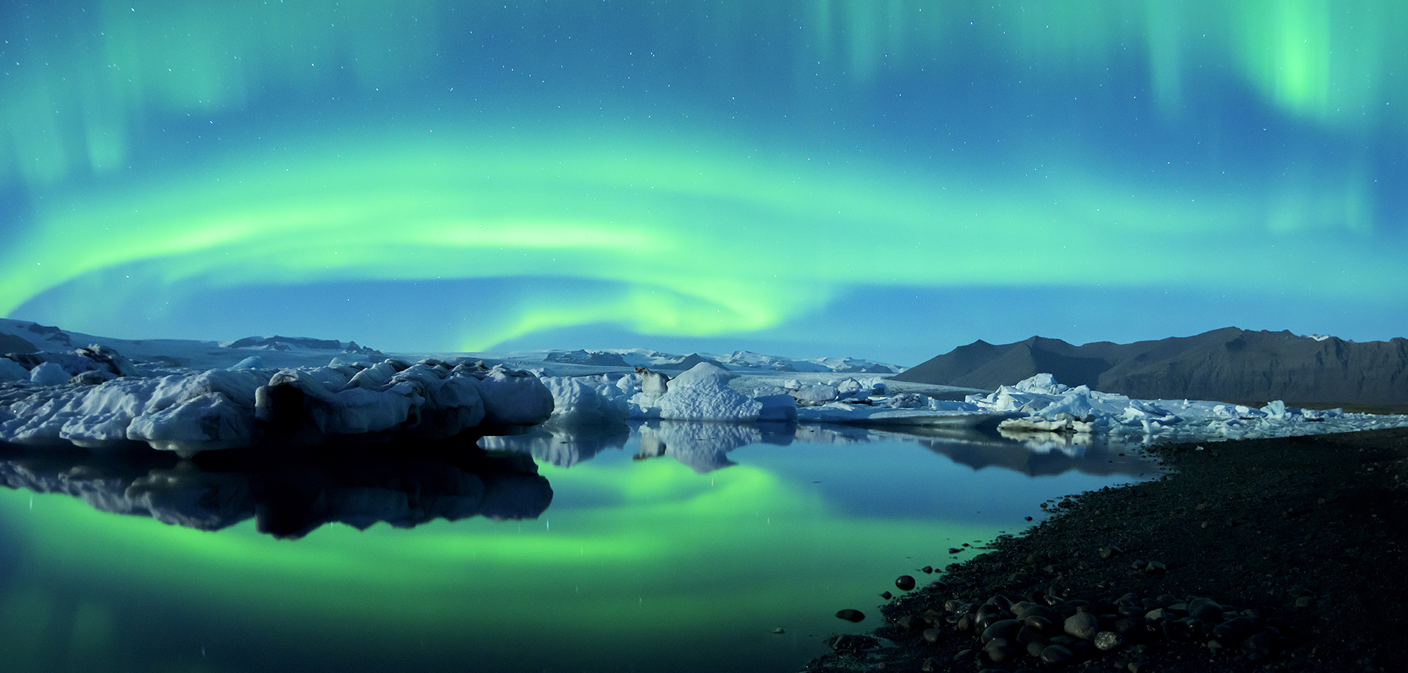 Northern Lights Jokulsarlon Glacier Lagoon Pano more blue tryp base